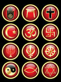 Religious symbols glossy web buttons — Stock Vector