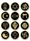 Religious symbols stickers gold on black — Stock Vector