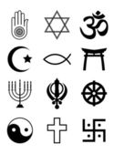 Religious symbols black & white — Vetorial Stock