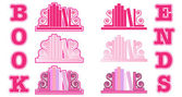 Pink Bookend icons — Stock Vector