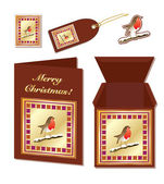 Christmas robin stationery — Stock Vector