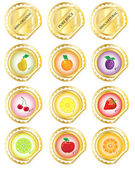 Gold fruit labels — Stock Vector