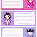 Cute Kokeshi notes — Stock Vector