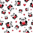 Panda with heart seamless - Stock Vector
