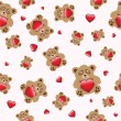Royalty-Free Stock Immagine Vettoriale: Bear with heart seamless