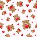 Bear with heart seamless — Stock Vector