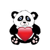 Panda with heart — Stock Vector