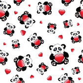 Panda with heart seamless — Stock Vector