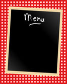 Menu board on gingham — Stock Vector