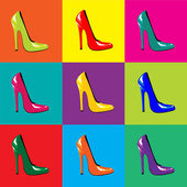 Zapatos de pop-art — Vector de stock