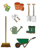 Gardening tools isolated — Stock Vector