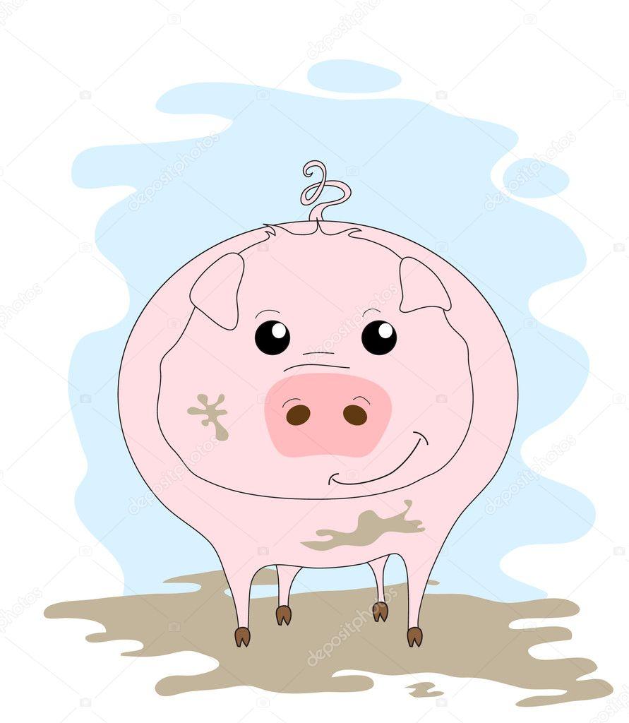 可爱的小猪在泥浆中