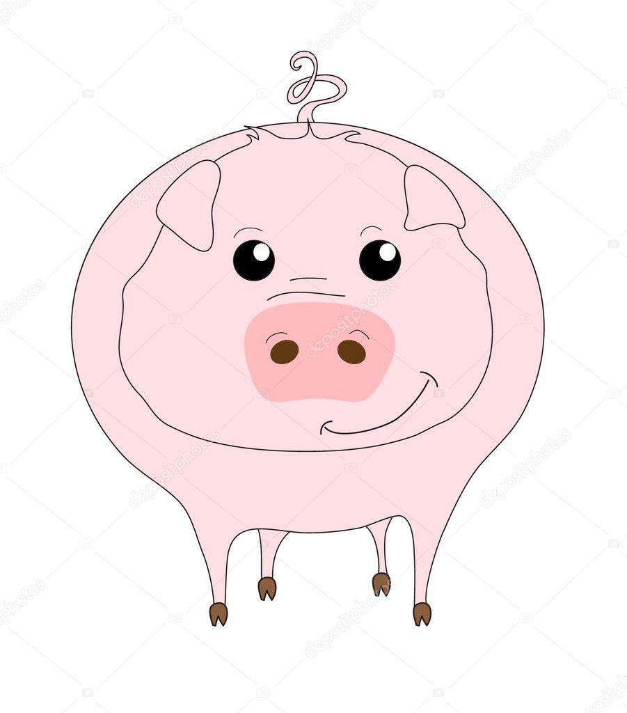 可爱的小猪卡通白色上隔离