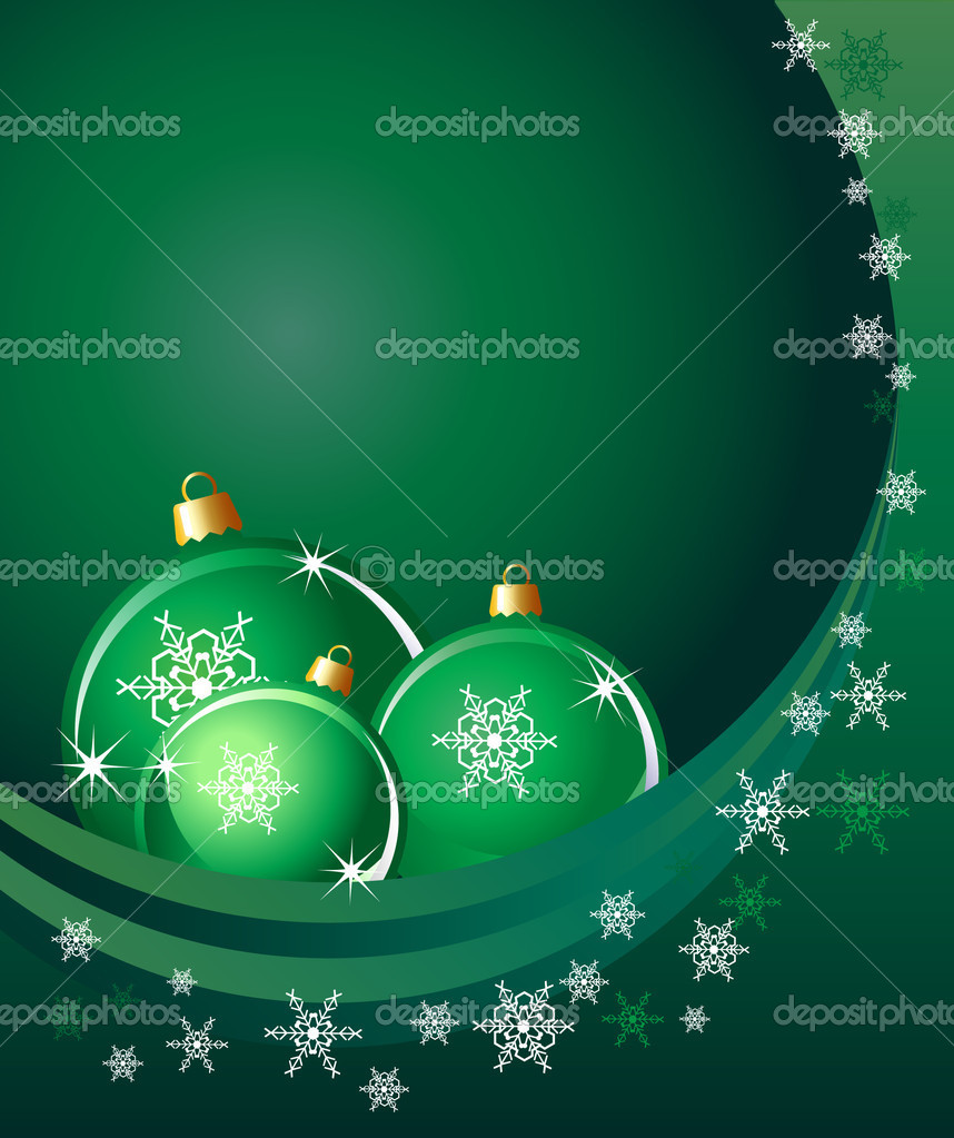Christmas baubles on abstract background with snowflakes. Space for your text. EPS10 vector format. — Stock vektor #11894784