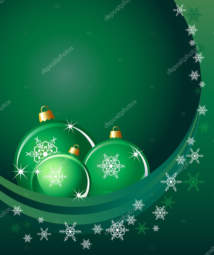 Christmas baubles on abstract background with snowflakes. Space for your text. EPS10 vector format. — Stock Vector #11894784