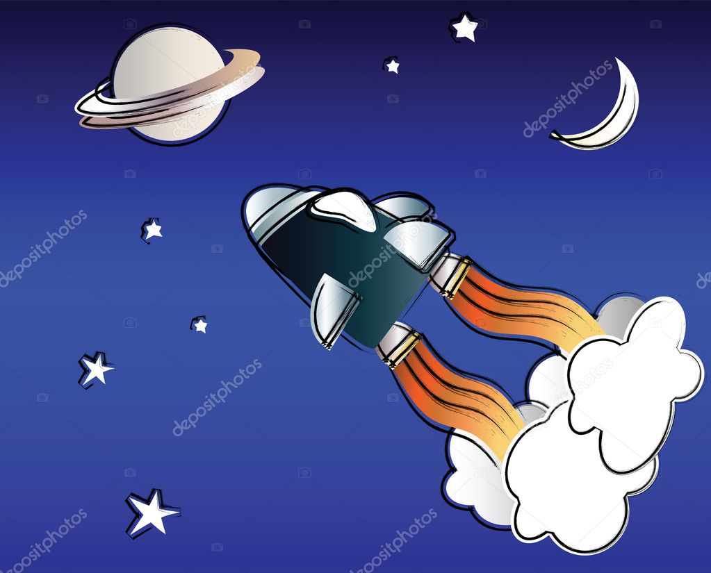 A vector illustration of a spaceship in space in the style of a child's drawing — Stock Vector #11895010