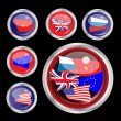 Glossy web buttons Superpower flags — Stock Vector #11909590