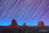 Monument Valley Star Trails 2 — Stock Photo