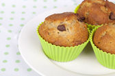 Muffins on white plate — Stock Photo