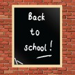 Chalkboard on brick wall — Stock Vector