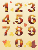 Autumn numbers — Stock Vector