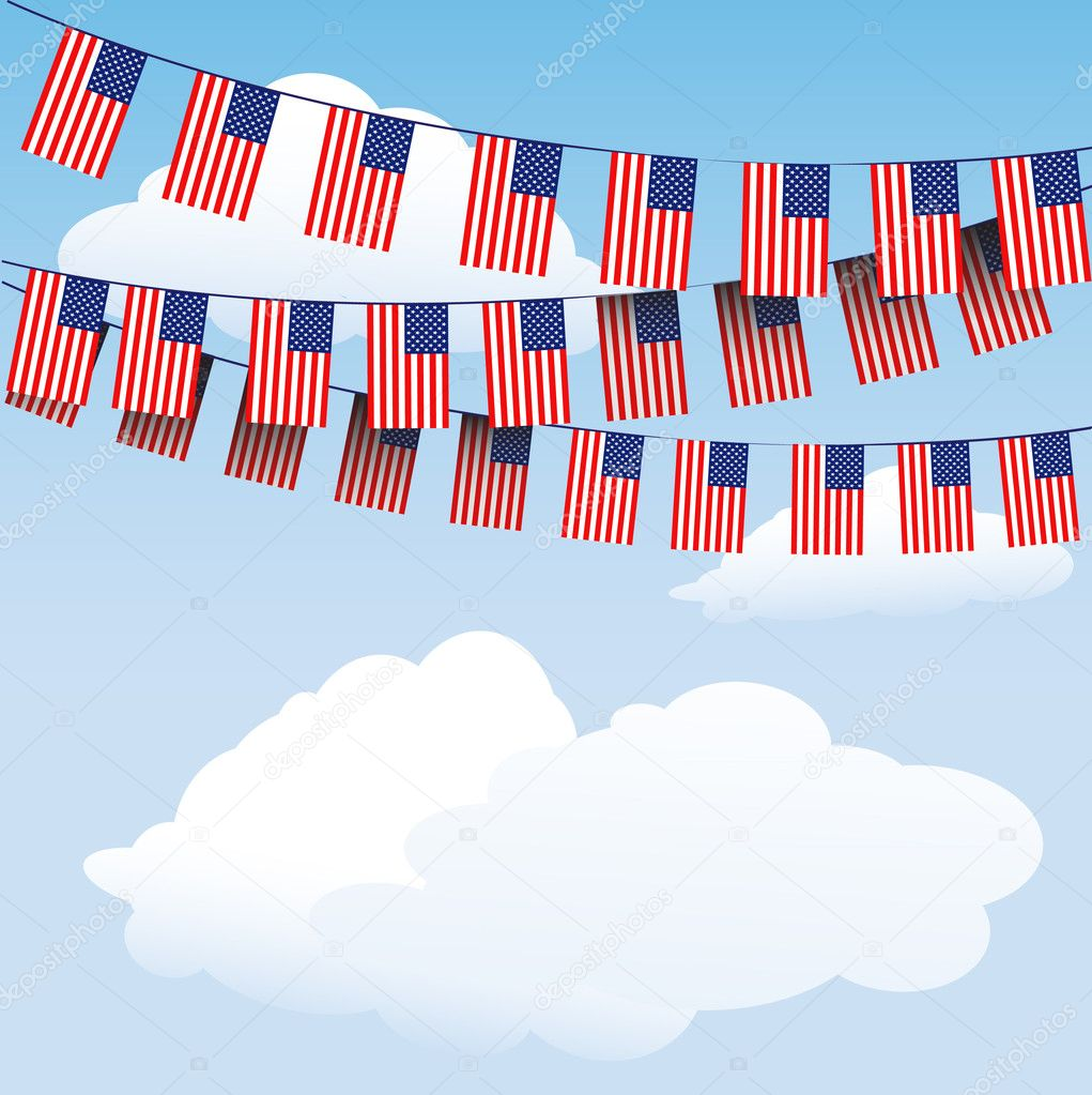 Stars and Stripes bunting on cloud background with space for your text. EPS10 vector format — Stock Vector #11955523