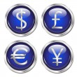 Money symbol web buttons blue - Stock Vector