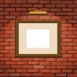 Old brick wall and wooden frame — Stock Vector