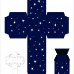 Gift box template, night sky — Stock Vector