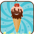 Summer funny emblem with ice cream - 