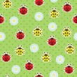 Stock Vector: Ladybugs seamless pattern