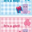 Baby arrival cards for boy and girl - Stock Vector