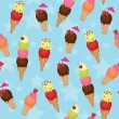 Seamless ice cream background - Stock Vector