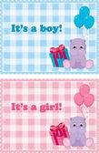 宝宝的到来卡为男孩和女孩 — 图库矢量图片
