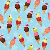 Seamless ice cream background — Stock Vector