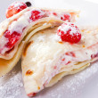 Stock Photo: Mascarpone cheese pancakes with fresh strawberries