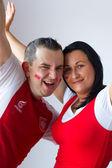 Fans de fútbol polaco — Foto de Stock