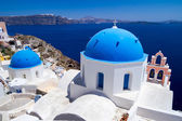 Blue churches of Santorini island — Stock Photo