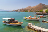 Small fishing boat at the coast of Crete — Stock Photo
