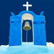 Tower bell of blue church on Santorini — Stock Photo
