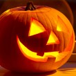 Stock Photo: Halloween pumpkin with scary face