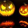 Halloween pumpkins with scary face — Stock Photo #11995632