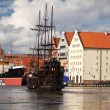 Motlawa river in old town of Gdansk — Stock Photo