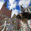 Fountain of the Neptune in old town of Gdansk — Stock Photo