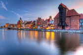 Old town of Gdansk with ancient crane — Stock Photo