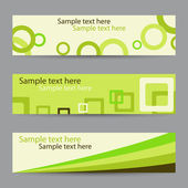 Collection of green horizontal banners with circles, squares and ribbon — Stock Vector
