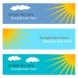 Collection of blue horizontal banners with sun. — Stockvektor