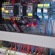 Stock Photo: New control panel with static energy meters and circuit-breakers