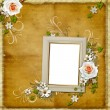 Vintage background with frame and roses — Stockfoto