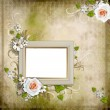 Vintage background with frame and roses — Stock Photo